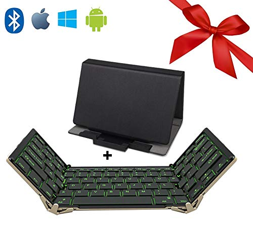 JPXIA Foldable Wireless Keyboard with 3-Color Backlight, Touchpad for All iOS Android Smartphone Windows Laptop Tablet Office Mute Keyboard (Sync Up to 3 Devices)