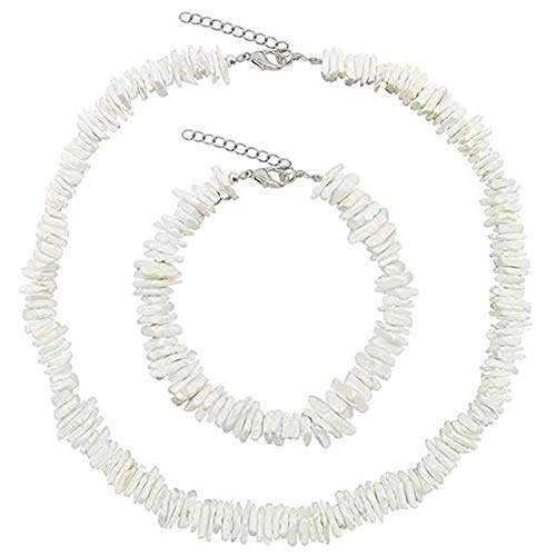Puka Clam Chip Sea Shell Choker Necklace and Anklets Bracelets Hawaii Beach Cowrie Conch Shell Chokers(18inch set)