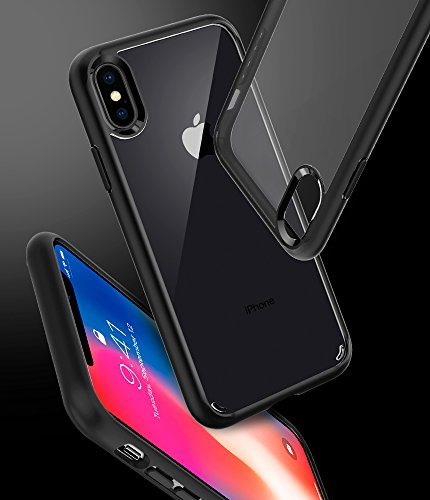 Large Product Image of Spigen Ultra Hybrid iPhone X Case with Air Cushion Technology and Clear Hybrid Drop Protection for Apple iPhone X (2017) - Matte Black