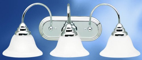 Kichler Lighting 5993CH Telford - Three Light Bath Fixture, Chrome Finish with Alabaster Swirl Glass - Kichler Lighting Telford Bath Vanity