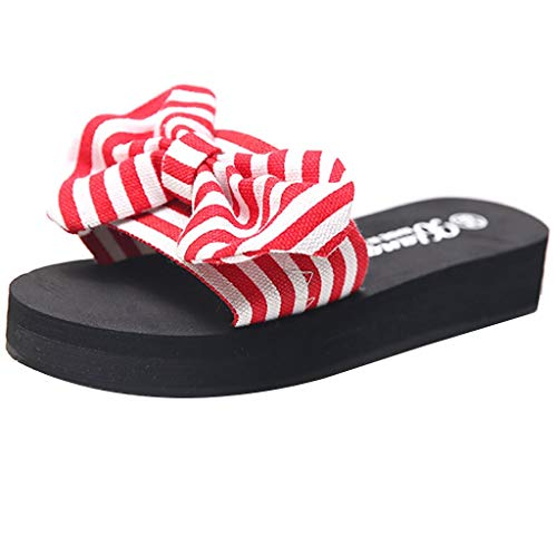 TANGSen Women Striped Bow Slippers Ladies Summer Open Toe Platform Wedge Beach Casual Outdoor Walk Beach Shoes Red