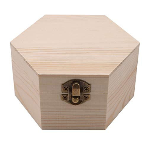 GloryMM Hexagon Shaped Wooden Case Simple Design Unpainted Jewelry Box Portable Memorial Keepsake Container Wedding Gift Soap Flower Storage Box (Hexagon Gift Box Craft)