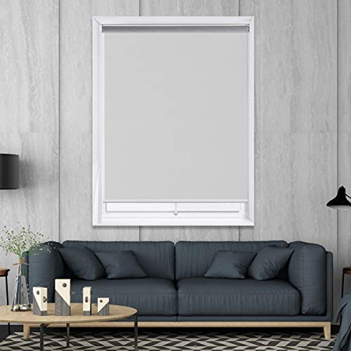 HOMEDEMO Cordless Roller Blinds Shades Spring darking Thermal Cordless Privacy Room Darkening Window Shades White 48 x 72 Kit with Spring System for Window