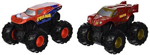 SUPERMAN & IRON OUTLAW * Monster Jam Rev Tredz 2-Pack 1:43-Scale Trucks