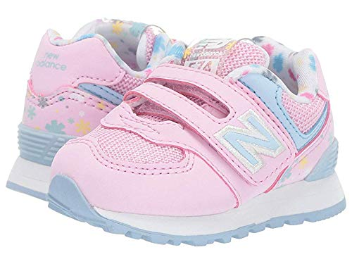 (New Balance Girls' Iconic 574 V1 Hook and Loop Running Shoe, Crystal Rose/Summer Sky, 10 M US Toddler)
