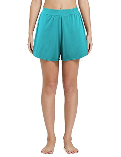 Nonwe Women's Solid A-Line Boyshort Loose Board Shorts Turquoise ()