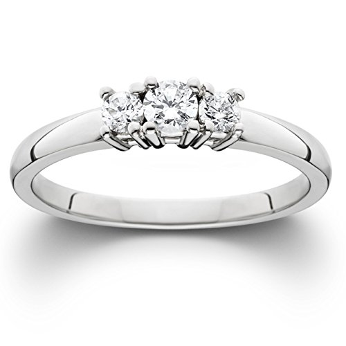 1/4ct White Gold Three Stone Diamond Engagement Ring - Size 5 ()