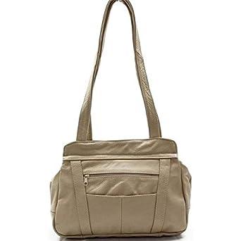 7d225e57 Amazon.com: AFONiE 3 Compartment Leather Hobo Bag Beige: Clothing