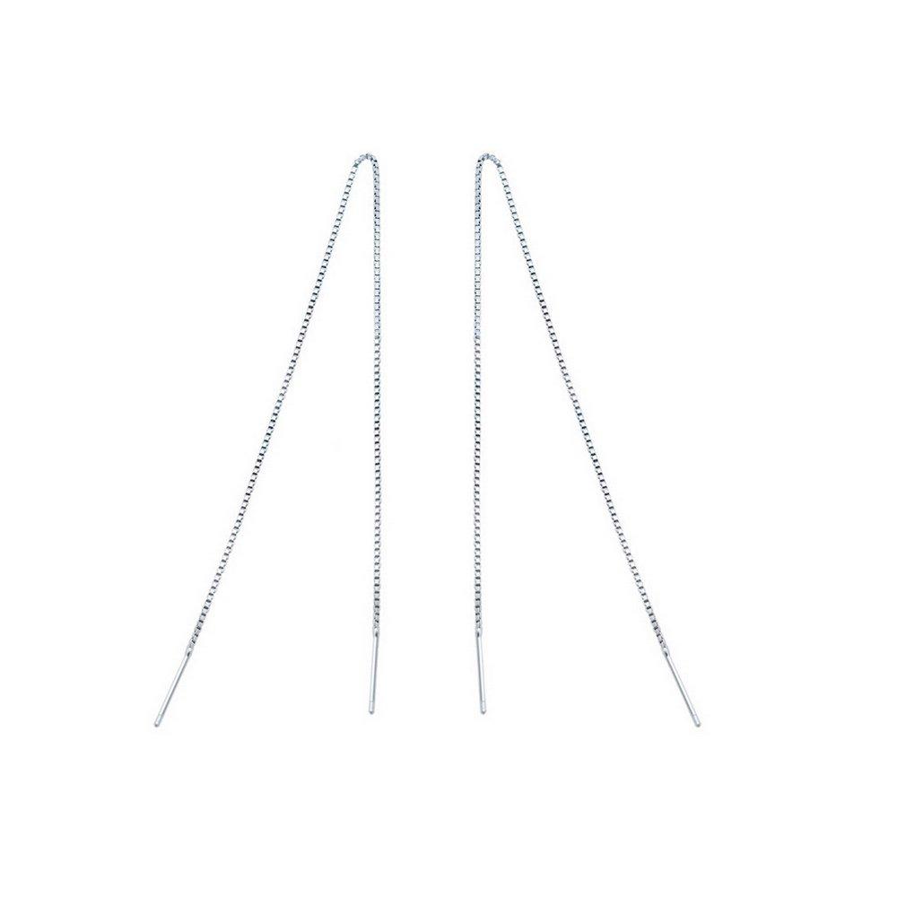 Sterling Silver Tassel Threader Drop Earrings
