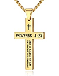 Stainless Steel Bible Verse Cross Pendant Necklace for Men Women, Proverbs 4:23, 20''-24'' Chain