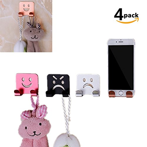 DW Double Wall Hooks, New Cute Reusable Waterproof Oilproof Sticky Self Adhesive Robe Expression Hooks