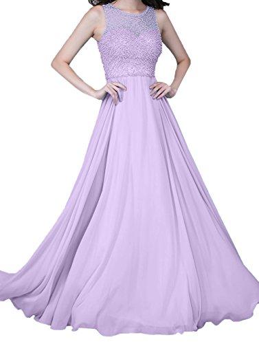 Damen Zahlreichen A Charmant Ballkleider Abendkleider mit Lilac Festlichkleider Perlen Linie Lang Chiffon 4zxgzBS