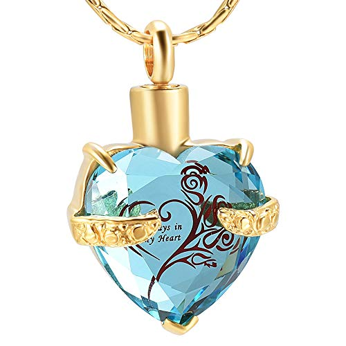 constantlife Crystal Heart Shape Cremation Jewelry Memorial Urn Necklace for Ashes, Stainless Steel Ash Holder Pendant Keepsake with Gift Box Charms Accessories for Women (Gold-Light Blue)
