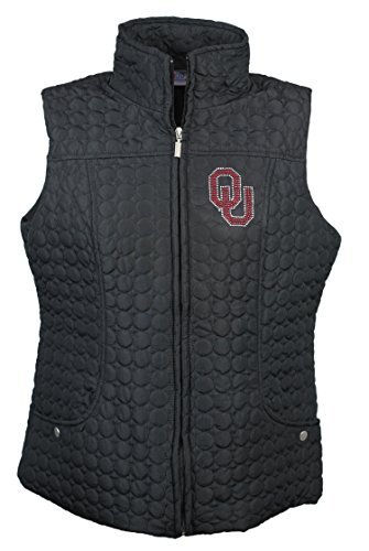 NCAA Oklahoma Sooners Women's Circle Quilted Vest with Rhinestone & Metallic OU Logo, 3X, Black