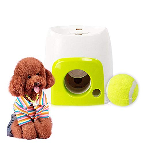 Interactive Ball Launcher for Dogs, Food Reward Machine for Dogs with Tennis Ball, Interactive Fetch and Treat Pet Ball Play Toy Game for IQ Training