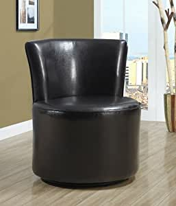 Monarch Specialties Leather-Look Accent Chair with Swivel Base, Dark Brown