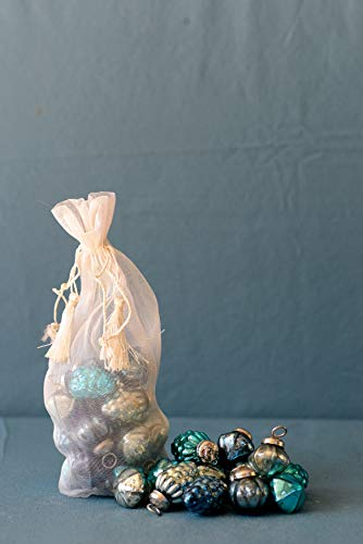Creative Co-Op Embossed Mercury Glass Ornaments in Organza Bag, 3 Styles - Blue ( Set of 36 ) - 1 Inch