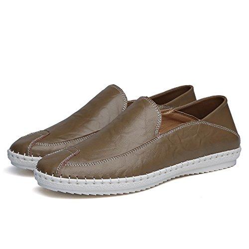 EU casual Dimensione slip Cachi unita pelle Mocassini mocassini on minimalismo in 38 Marrone Xiazhi tinta Color shoes moda uomo ZnFq0TTH