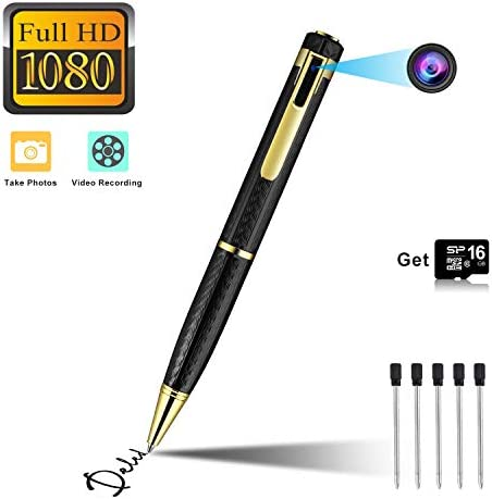 Hidden Camera Spy Camera Pen HD 1080P Camcorder Portable with 16GB Memory Card Pocket Cam Covert Camera for Business and Conference Black