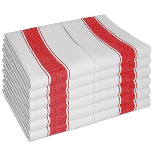 - Dish Towels Pack of 12 by SMARTZ; Large size 70x50 centimetre; 100 percent Cotton with Hanging Loop; White with Red Stripes; Strong Quality Retro Style for Heavy Duty Cleaning and Drying