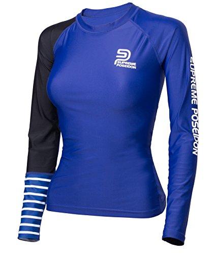 SUPREME POSEIDON Womens Aurora Rashguard| UV Protection UPF 50+ | Performance Fit Quick Dry | Long Sleeve (Blue, Small)