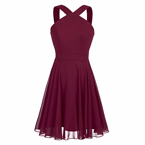iiniim Womens Chiffon Criss-Cross Straps Evening Party Prom Gown Bridesmaid Short Dress Burgundy US Size 10