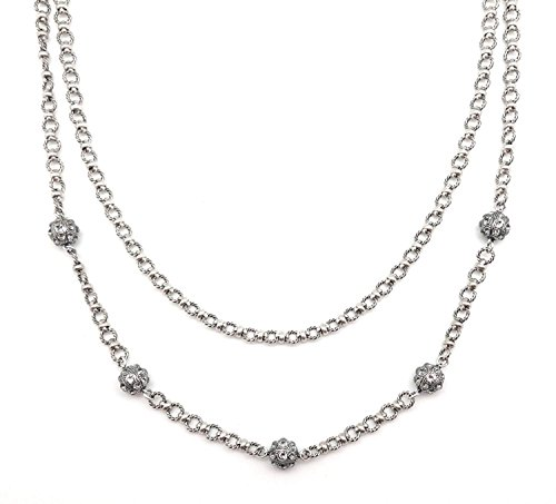 Catherine Popesco Dark Grey Ball Swarovski Double Strand Silver Plated Necklace