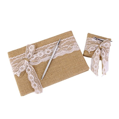 ROSENICE Hessian Burlap Wedding Guest Book Pen with Stand Set Lace Bowknot Decorated
