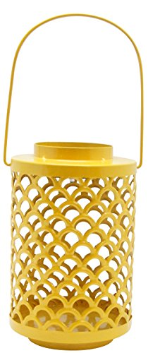 Alpine Corporation JFH928YL Yellow Metal Lantern with Solar Light (Alpine Lantern)