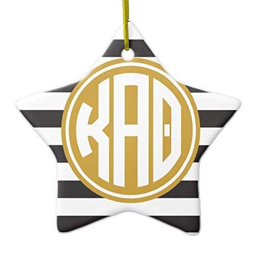 659ParkerRob Christmas Ornaments, Kappa Alpha Theta Monogram Stripe Pattern Star Ceramic Christmas Ornaments Christmas Tree Decoration, Keepsake, Couples