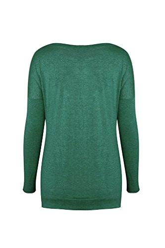 Collo Colore Shirt Camicetta T Bluse Taglie Primavera Camicie Magliette Eleganti Casual Lunga Verde Camicia Puro Top Pulsante Autunno Donna Forti Manica Rotondo 4w7wAq