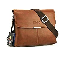Videng Polo Travel Messenger Laptop Bag for Men - Leather, Brown