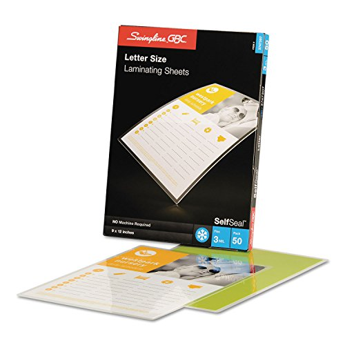 Swingline GBC 3747307 SelfSeal Single-Sided Letter-Size Laminating Sheets 3mil 9 x 12 50/Pack