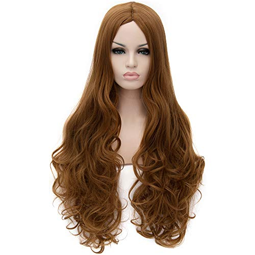 Flovex Women Long Wavy Cosplay Wigs Ladies Sexy Natural Costume Club Party Daily Hair with Wig Cap (Golden Brown)]()