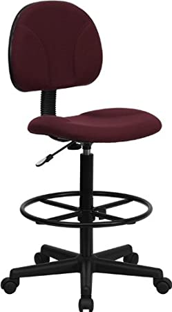 Flash Furniture Burgundy Fabric Drafting Chair Cylinders: 22.5-27H or 26-30.5H