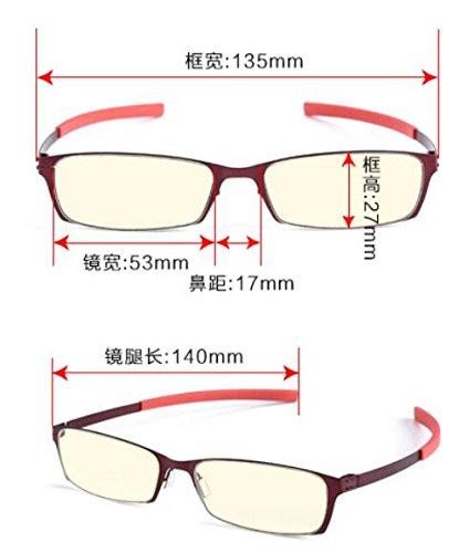 de ordenador Red gafas azul y espectáculos Oxblood mirror móvil juego rojo KOMNY anti vasos Oxblood Gafas pequeños wS08B0