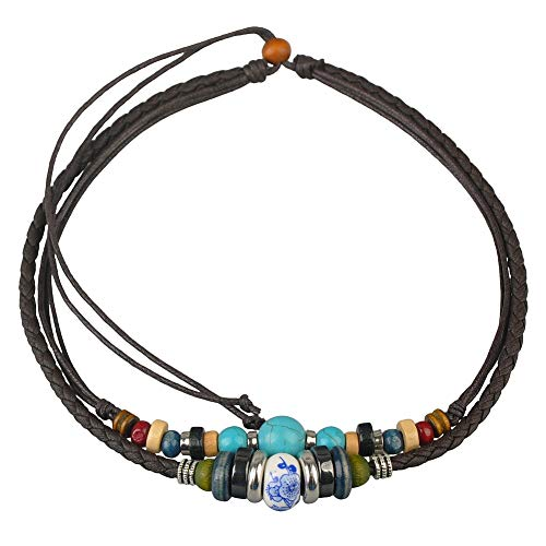 (Ancient Tribe Adjustable Hemp Leather Cords Choker Necklace Turquoise Beads)