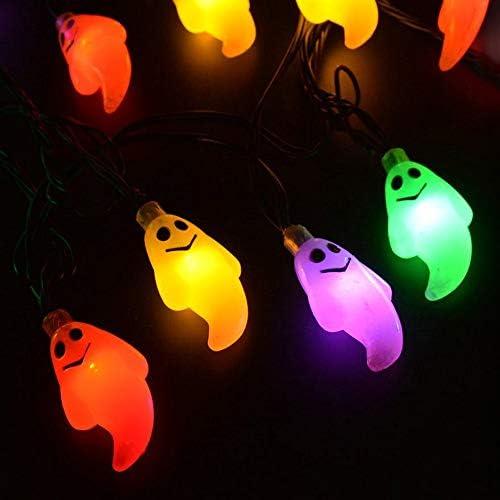 lqgpsx Nettes Halloween führte Schnur-Licht-Geist-Schädel-dekorative Licht-Fee LED-Girlande im Freien Innendekoration Batteriebetriebenes 2.2m