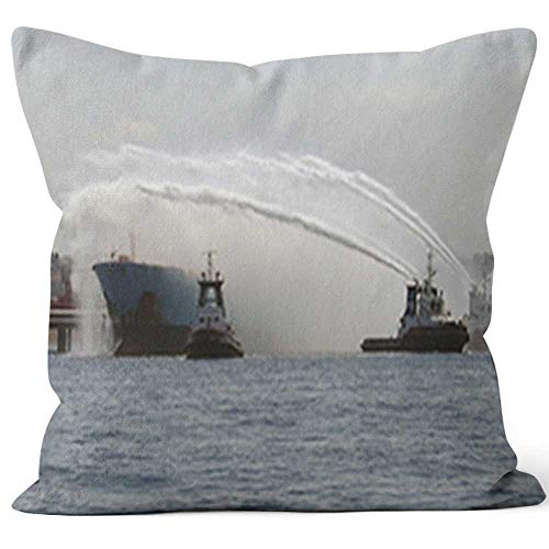 - Search and Rescue Fireboats in Action Throw Pillow Cushion Cover,HD Printing Decorative Square Accent Pillow Case,36
