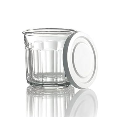 Arc International Luminarc Working Storage Jar/Dof Glass with White Lid, 14-Ounce, Set of 4