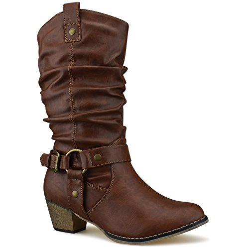 Women's Western Cowboy Pointed Toe Knee High Pull On Tabs Boots, TPS Wild-02 v25 Tan Size 11 by Premier Standard
