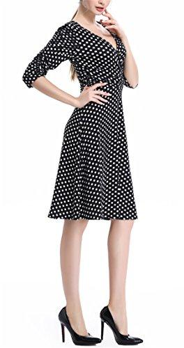 Da Ol Tunica 4 A Neri Increspato Punti Scollo Allonly Mini V Sottile 3 Vestito Donna Elegante Alta Vita YwxqPF4Zn