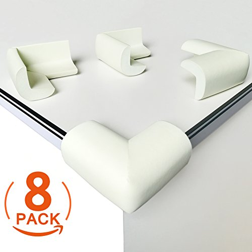 Soft Corner Protectors ([8 Pack] Child Safety Corner Protectors, Canwn Soft Foam Baby Proofing Corner Guards Right Angle No Smell Table Corner Protectors for Baby and Kids(White))