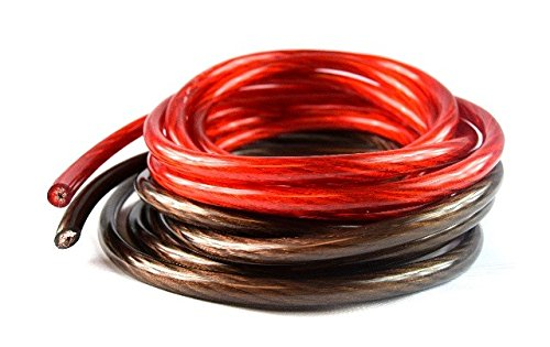 4 Ga 10' Red and 10' Black Car Audio Power Ground Wire Cable 20' ft Total
