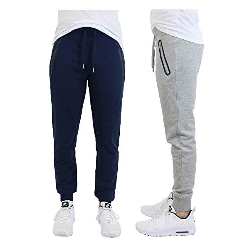 DARESAY 2 Pack of Mens French Terry Joggers Casual Active Gym Running Sweatpants with Zipper Pockets, Navy/Light Grey, -
