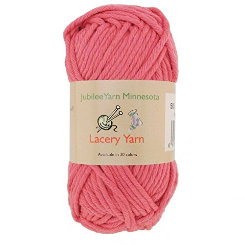 (Bulky Weight Lacery Yarn 100g - 2 Skeins - 100% Cotton - Soft Red - Color)