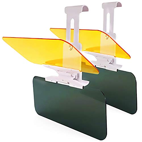 WYYINLI Universal Transparent 2 Pack Car Hd Anti-Glare Day/Night Visor Sun Sheild Tinted Lens Blocker 2 in 1 Extender Visor Sunscreen Mirror Goggles Shield