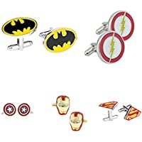 Athena Super Heroes DC & Marvel (5-Set) Wedding Groomsman Men's Boys Cufflinks w/Gift Box