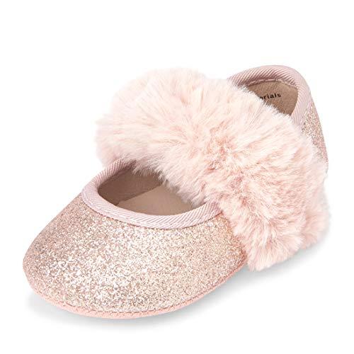 The Children's Place Girls Ballet Flat, Gold, 3-6MONTHS Regular US Infant Childrens Place Girls Glitter