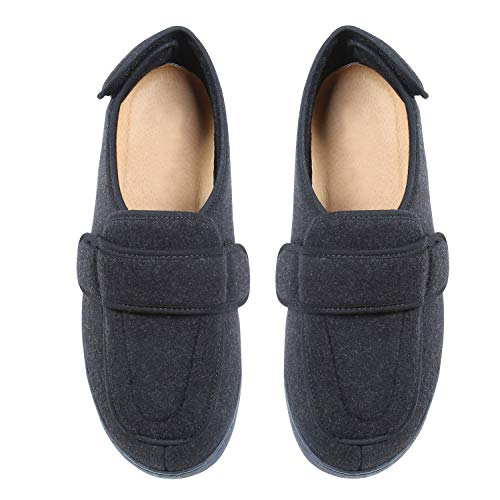 Foamtreads Men's Extra-Depth Wool Slippers,Charcoal,14 W US ()